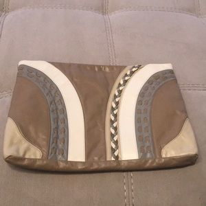 Clutch purse beige and gray and bone and taupe